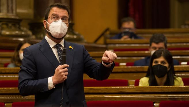El vicepresidente del Govern en funciones, Pere Aragonés, en el Parlament de Cataluña.