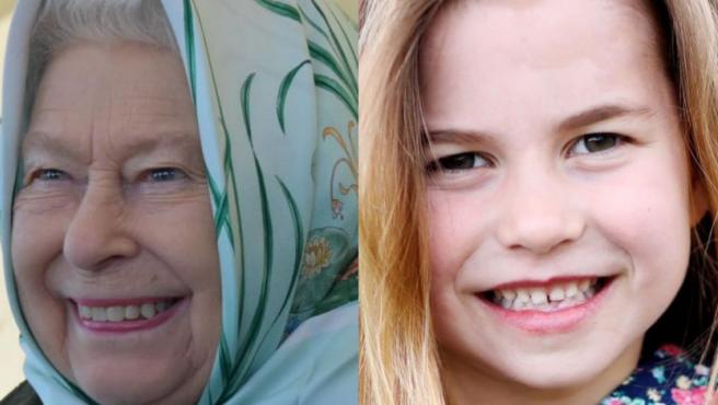 Montaje de fotos de la reina Isabel y su bisnieta Carlota.