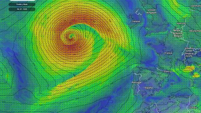 Una ciclogénesis explosiva dará lugar a una profunda borrasca atlántica en los próximos días.