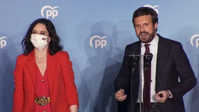 La presidenta de la Comunidad de Madrid, Isabel Díaz Ayuso y el presidente del PP, Pablo Casado.