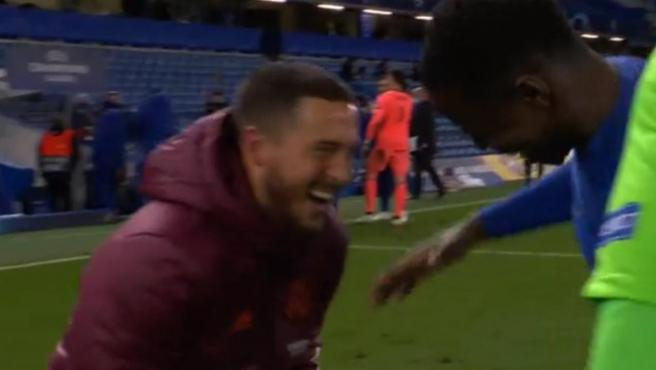 Hazard, laughing with his former teammates from Chelsea
