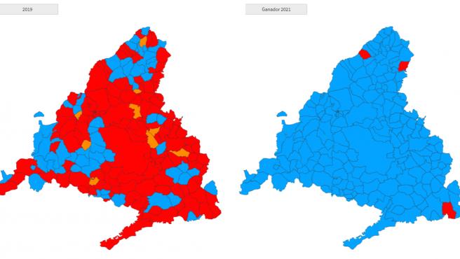 Partido más votado en cada municipio de la Comunidad de Madrid en las elecciones autonómicas.
