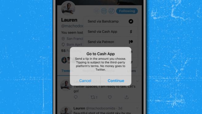 La nueva función 'Tip Jar' de Twitter para dar dinero a los usuarios, en una imagen promocional de la compañía.