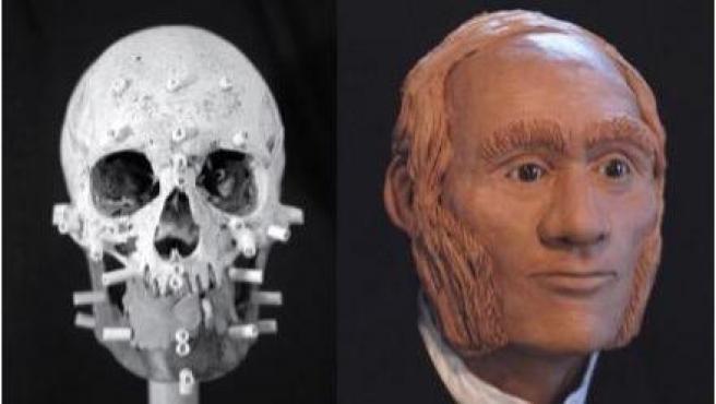 Reconstrucción facial del suboficial mayor John Gregory, uno de los desaparecidos en el Ártico canadiense.