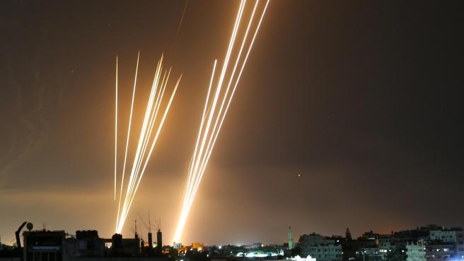Cohetes disparados por Hamás desde Gaza.