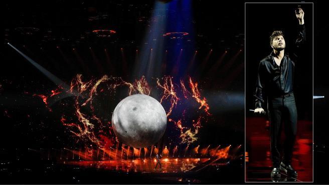 Blas Cantó durante el segundo ensayo de 'Voy a quedarme' para el festival de Eurovisión 2021.