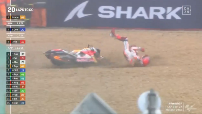 Caída de Marc Márquez en el GP de Francia