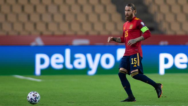 Sergio Ramos, during a match of the Spanish soccer team
