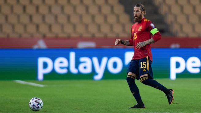 Sergio Ramos, durante un partido de la selección española de fútbol