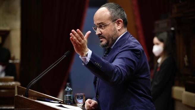 El presidente del PP catalán, Alejandro Fernández, durante el pleno de investidura de Pere Aragonès.