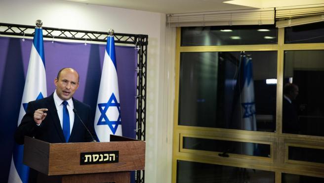 Naftali Bennett, líder del partido religioso israelí Yamina, en la Knesset (Parlamento de Israel).