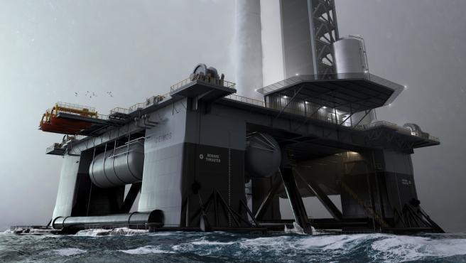 Así se vería la plataforma marítima de SpaceX.