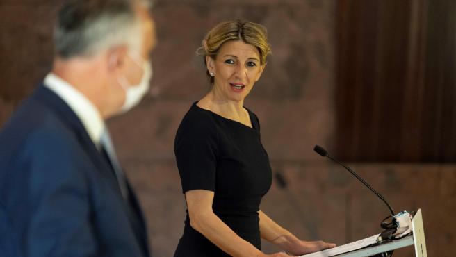 La ministra de Trabajo, Yolanda Díaz, este jueves en Canarias.