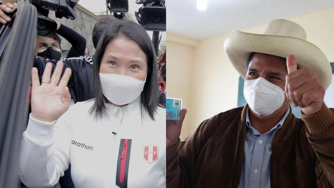 Empate técnico en las elecciones de Perú con ligera ventaja de Fujimori  sobre Castillo, según los sondeos a pie de urna
