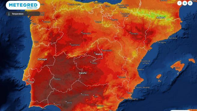Mapa de temperaturas en España.