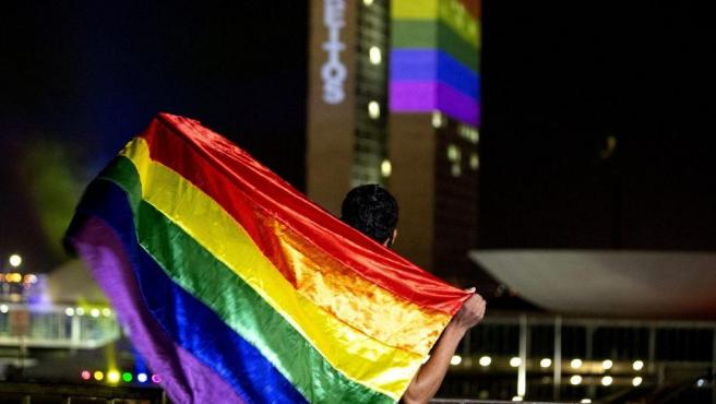 Un hombre sostiene una bandera del colectivo LGTB ante la sede del Congreso Nacional de Brasil, en el Día Internacional del Orgullo.