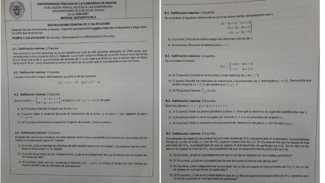 Examen Matemáticas II de la Evau en Madrid.