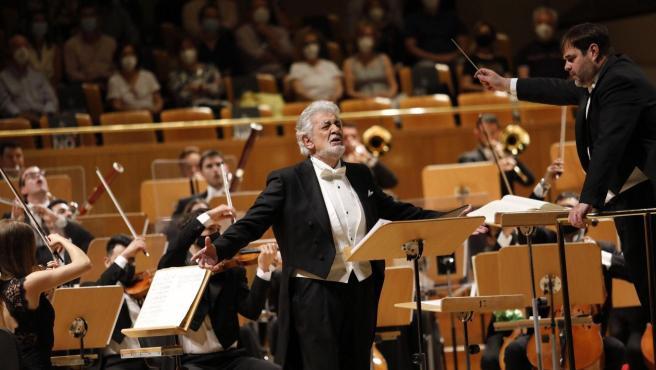 El tenor Plácido Domingo, en el Auditorio Nacional, en su reaparición tras dos años alejado de los escenarios españoles.
