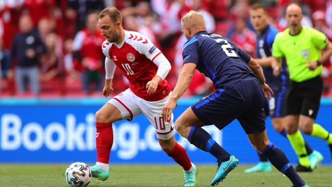 Eriksen, en el Dinamarca vs. Finlandia