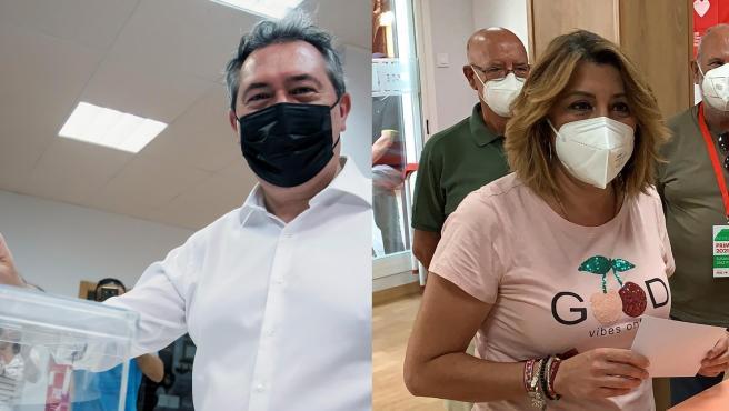Combo de imágenes de Juan Espadas y Susana Díaz en las primarias del PSOE andaluz.