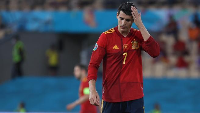 Álvaro Morata, durante un partido de la selección española en la Eurocopa