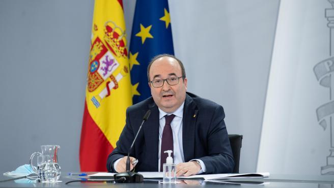 El ministro de Política Territorial, Miquel Iceta, en una rueda de prensa en la Moncloa.