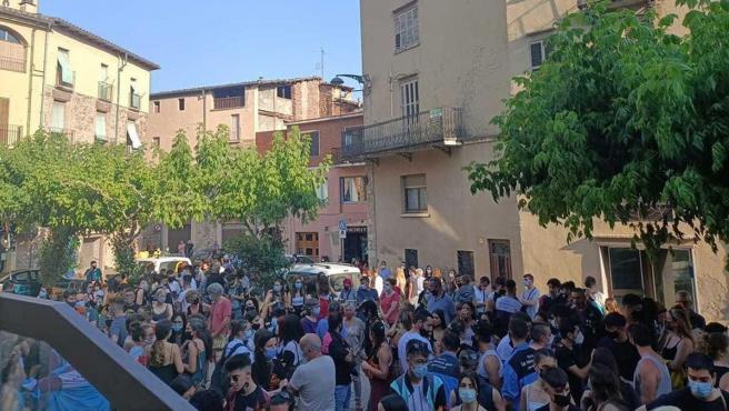 Concentración de rechazo a la agresión sexual producida en Santpedor (Barcelona) durante la Fiesta Mayor.