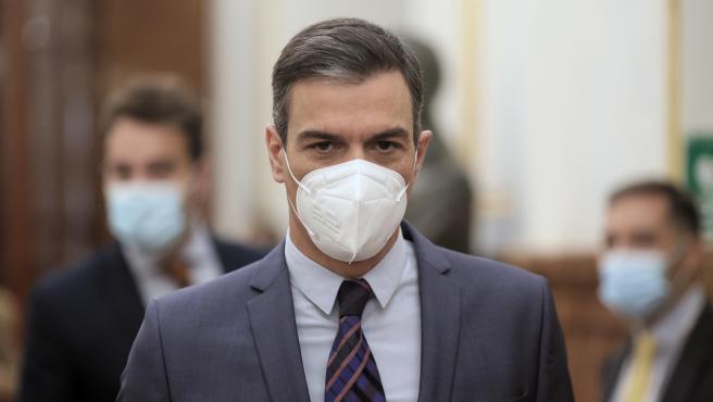 El presidente del Gobierno, Pedro Sánchez, a su llegada a una sesión de control al Gobierno, a 16 de junio de 2021