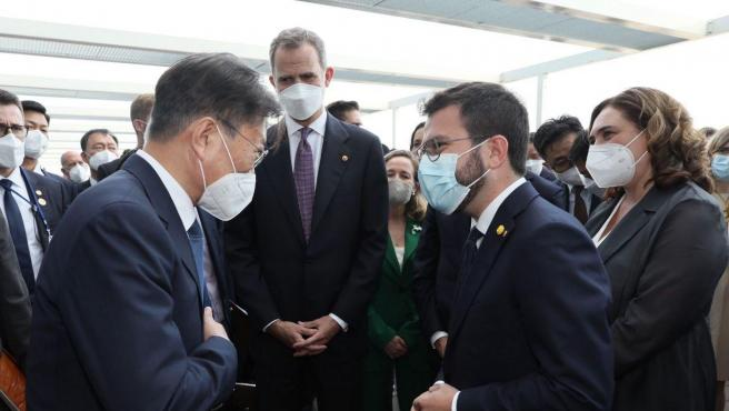 Aragonès conversa con el presidente de Corea del Sud, Moon Jae-In.