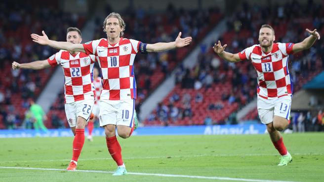 Luka Modric celebra un gol con Croacia durante la Eurocopa