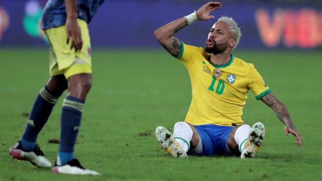 Neymar, con la selección de Brasil