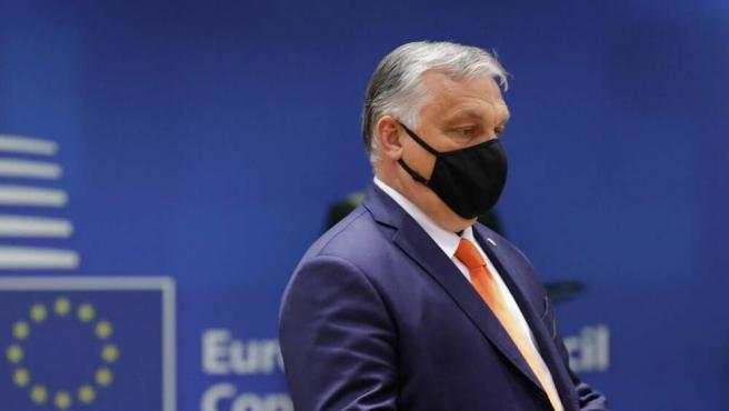 Viktor Orbán, a su llegada a la cumbre del Consejo Europeo.