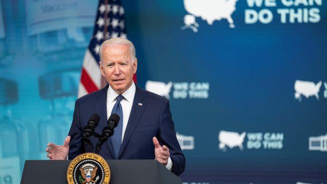 El presidente de EE UU, Joe Biden, habla en la Casa Blanca sobre la evolución de la pandemia de covid-19 y de la campaña de vacunación en el país.