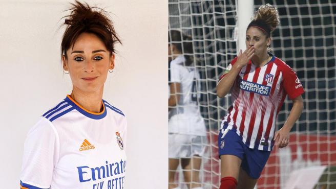 Esther González, en su foto de presentación con el Real Madrid y en su etapa en el Atlético