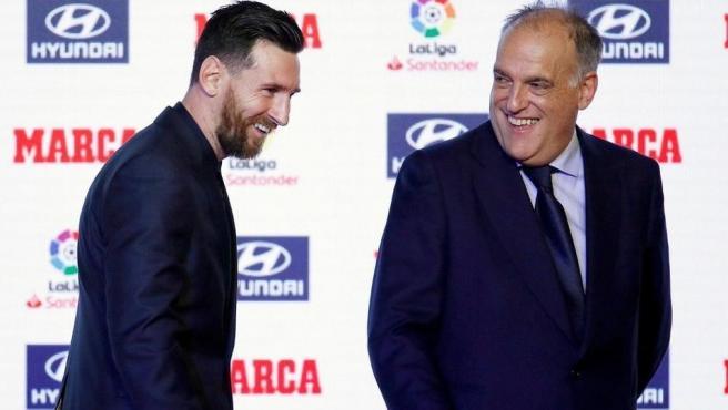 Leo Messi y Javier Tebas
