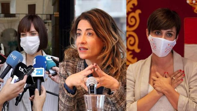 Diana Morant, Raquel Sánchez e Isabel Rodríguez, tras dejar su cargo como alcaldesas.