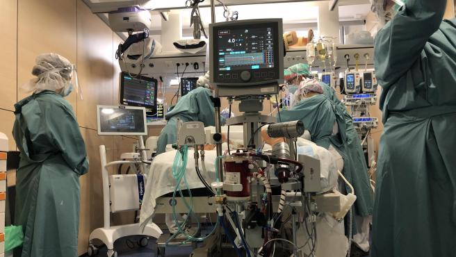 Profesionales sanitarios del Hospital Vall d'Hebron atienden a un paciente con Covid-19 en la unidad de cuidados intensivos (UCI).