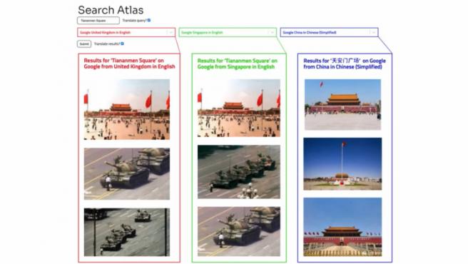 Los resultados al buscar 'Plaza de Tiananmen de Beijing' cambian en Reino Unido, Singapur y China.