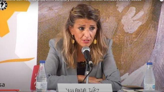 Yolanda Díaz en el acto en Gijón.