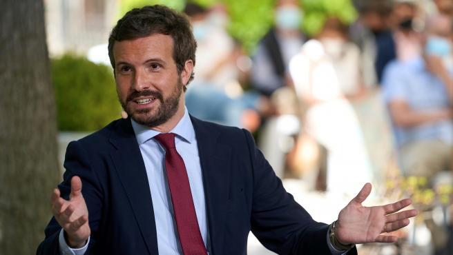 El presidente nacional del Partido Popular durante su intervención en una jornada de preparación de la Convención del PP que se celebra el próximo otoño, este lunes en Ávila.