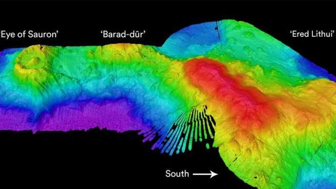 Imagen de sónar del volcán submarino.