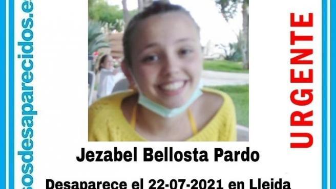 Cartel de la joven de 16 desaparecida en Lleida.