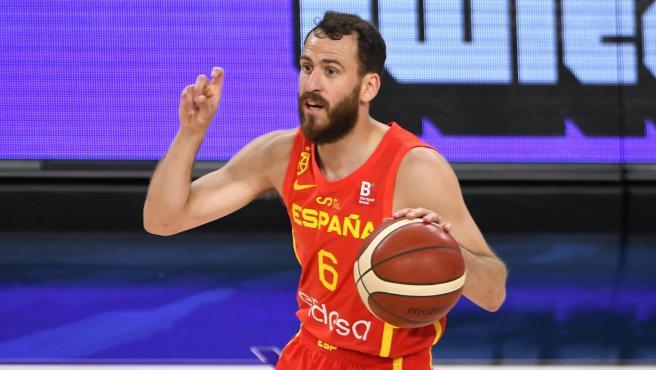 Sergio Rodríguez, con la selección española de baloncesto
