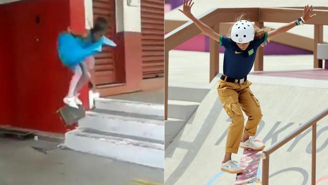 Rayssa Leal, con 5 años y durante la final de skate de los Juegos Olímpicos de Tokio