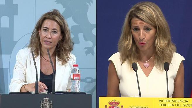 Raquel Sánchez, ministra de Transportes, y Yolanda Díaz, ministra de Trabajo y Economía Social.