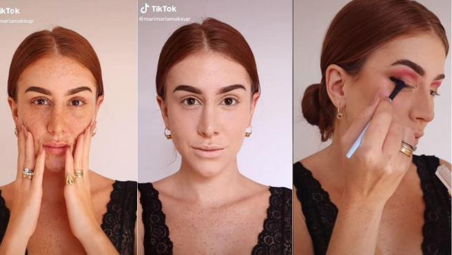 Tres pasos del proceso de transformación de la tiktoker Mari Maria.