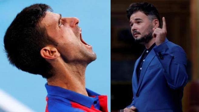 Montaje de Djokovic y Gabriel Rufián.