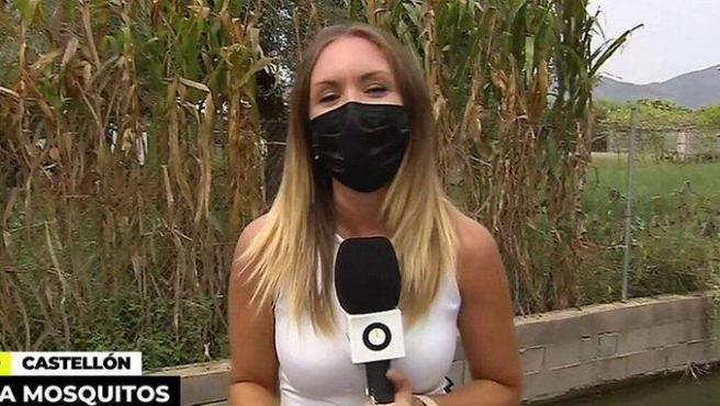 Inma Rivas, reportera de 'Ya es mediodía' en la retrasmisión desde Castellón.