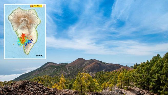 Vista del volcán de Cumbre Vieja, en La Palma; y la información sobre la actividad volcánica en la zona.