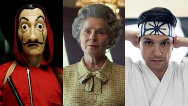 Fotogramas de 'La casa de papel', 'The Crown' y 'Cobra Kai'